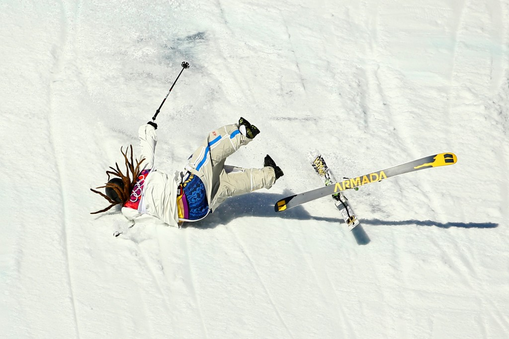 SOCHI, RUSSIA - FEBRUARY 13: Henrik Harlaut of Sweden falls while competing in the Freestyle Skiing Men's Ski Slopestyle Qualification during day six of the Sochi 2014 Winter Olympics at Rosa Khutor Extreme Park on February 13, 2014 in Sochi, Russia. (Photo by Al Bello/Getty Images)