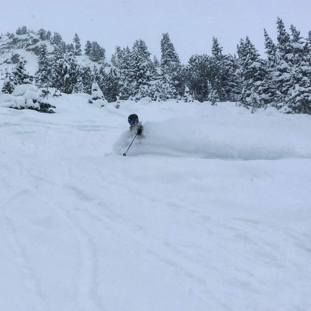 Abi on an epic pow day at Lake Louise