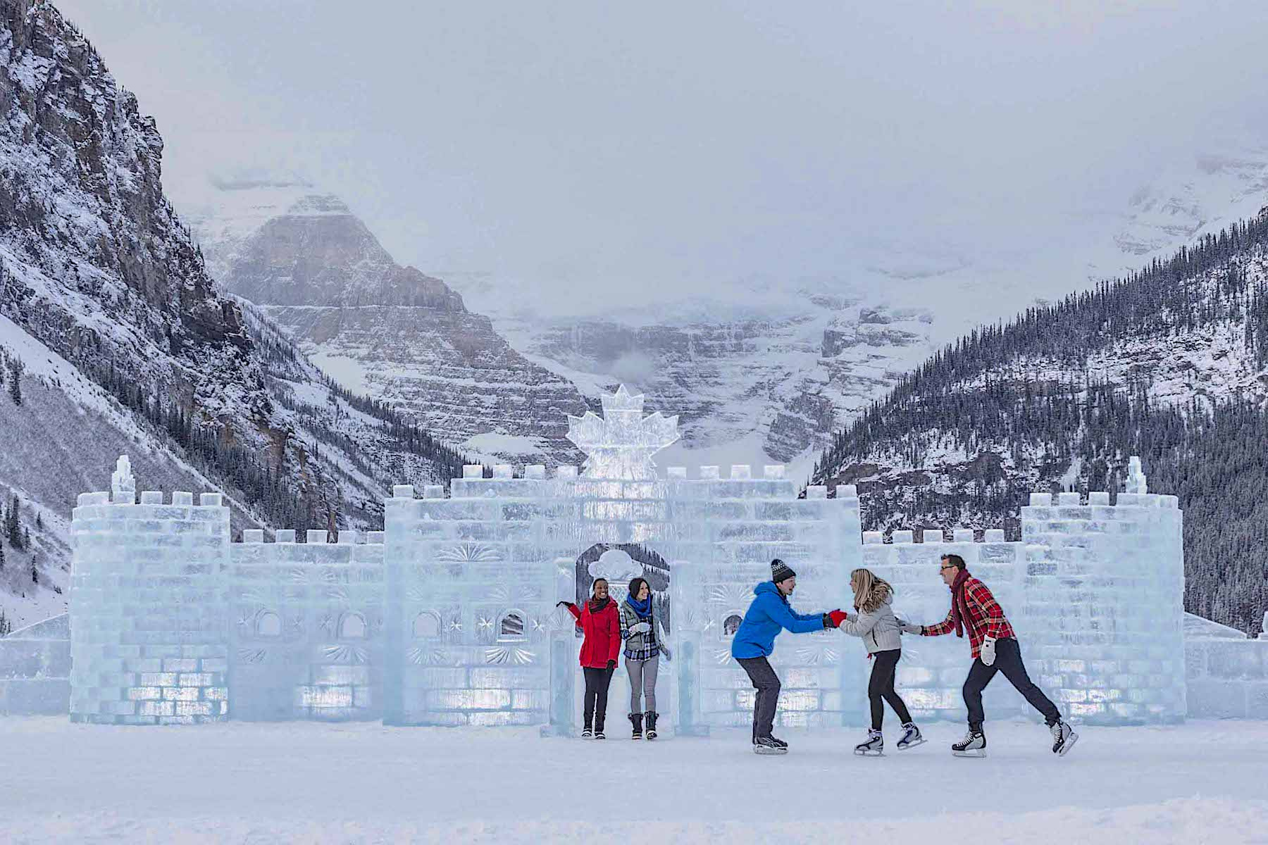 The ice castle on Lake Louise